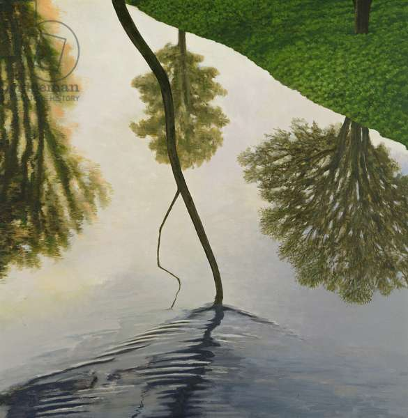 Reflection, River Kennet, 2003 (oil on canvas)