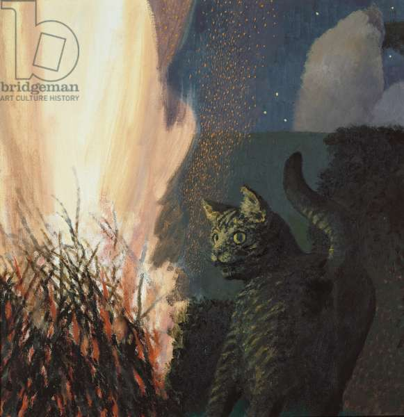 Cat and Bonfire, 1995-2000 (oil on canvas)