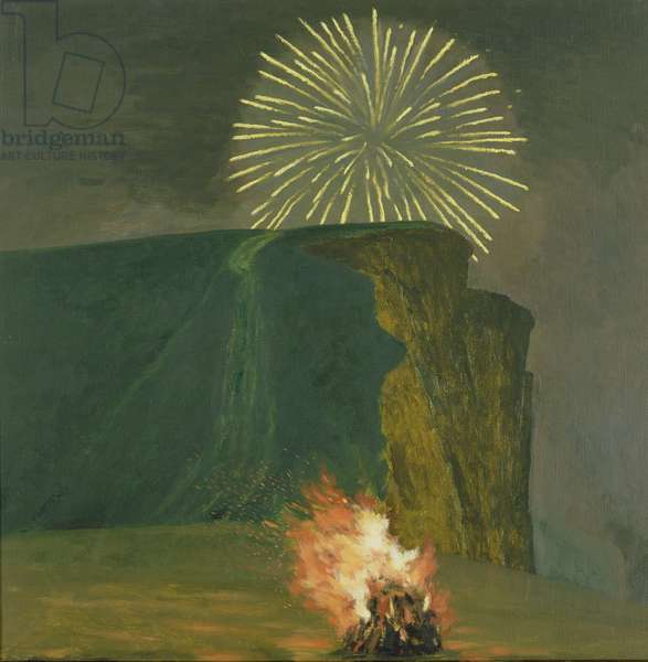 Fireworks and Bonfire, West Bay, 2000 (oil on canvas)