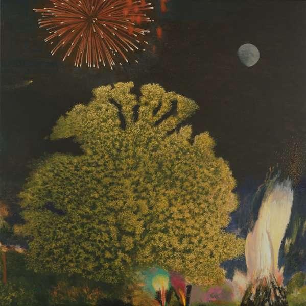 Oak Tree, Bonfire and Firework (oil on canvas)