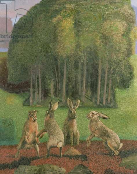 Hares in a Wiltshire landscape, 1985-86