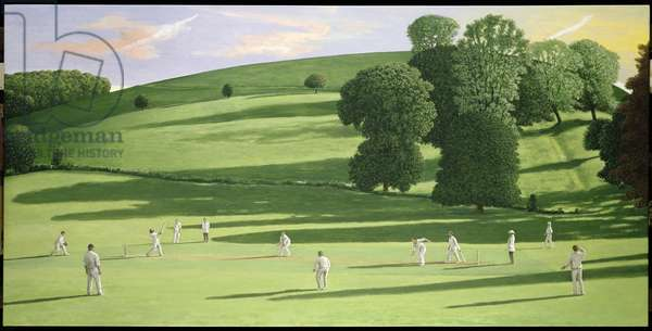 The Cricket Game III (oil on canvas)