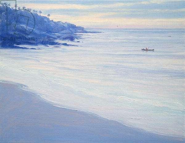 Fishing off Kovallum (oil on canvas)
