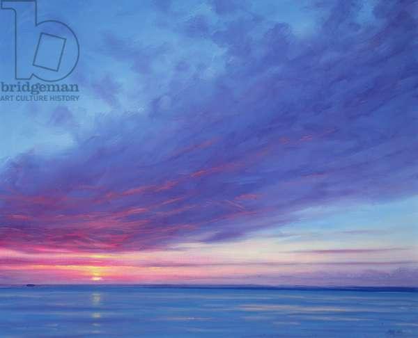 Sunrise off Treasure Cay (oil on canvas)