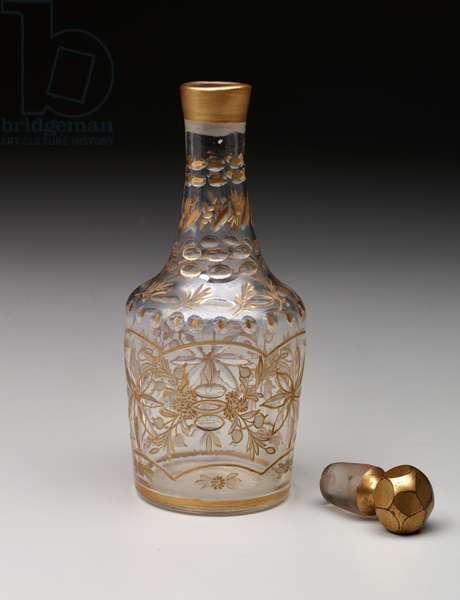 Decanter, c.1750-1800 (non-lead glass & gilding)