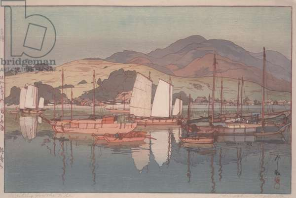 Waiting for the Tide, 1930 (colour woodblock print)