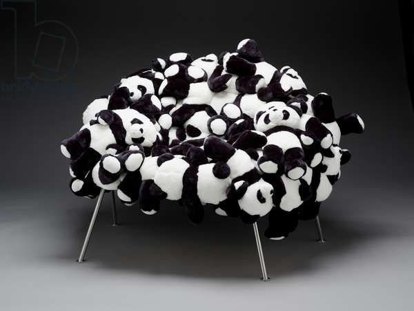 Banquette chair with pandas, designed 2006 (stuffed animals on steel base)