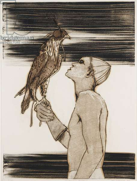 Falcon and Falconer, 1964 (etching & colour litho)