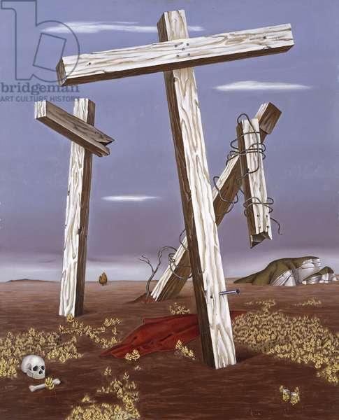 The Three Crosses, 1935-1936 (oil on masonite)