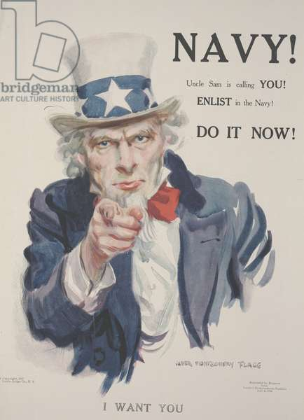 Navy! Uncle Sam is Calling YOU! Enlist in the Navy! Do it Now!, 1917 (colour litho)
