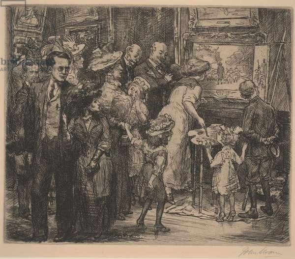 Copyist at the Metropolitan Museum, 1908-10 (etching)