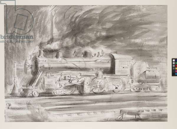 Untitled (locomotive), (chinese ink wash and charcoal)