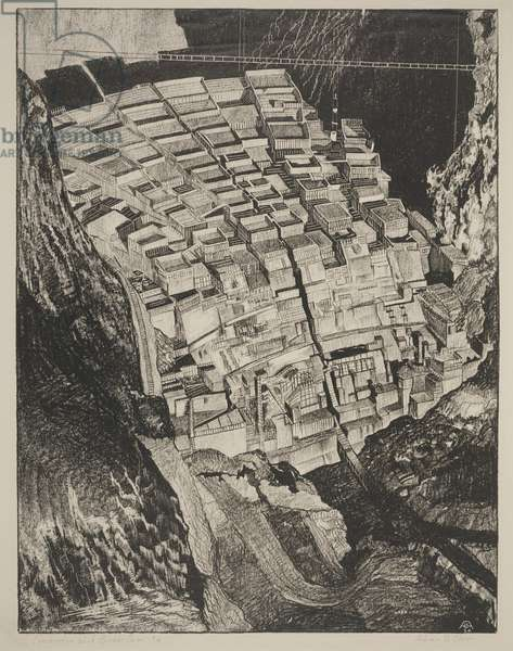 Construction Work Boulder Dam #4, 1934 (lithograph)