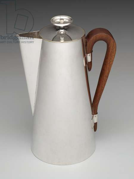 Coffeepot, c.1950s (silverplate and wood)