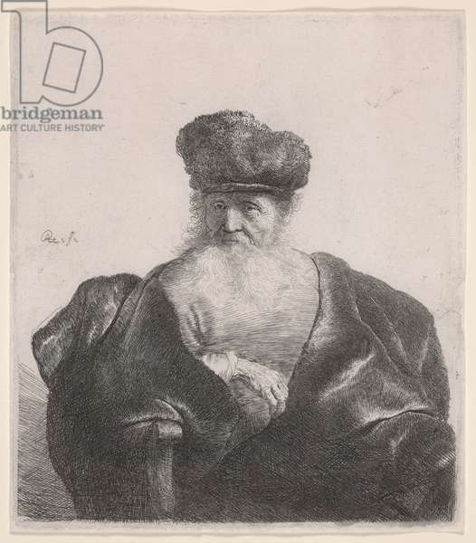 Old Man with Flowing Beard, Fur Cap and Velvet Cloak, c.1632 (etching)
