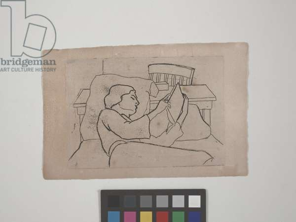Untitled (girl reading in bed), 1945 (etching)