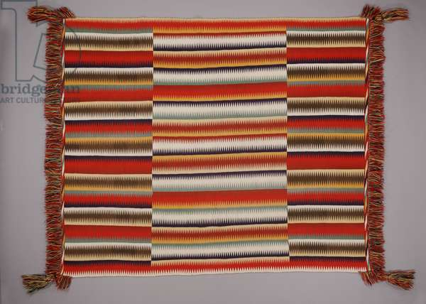 Eye-dazzler blanket, c.1880-1900 (cotton (warp) and wool (weft, germantown commercial wool yarn))