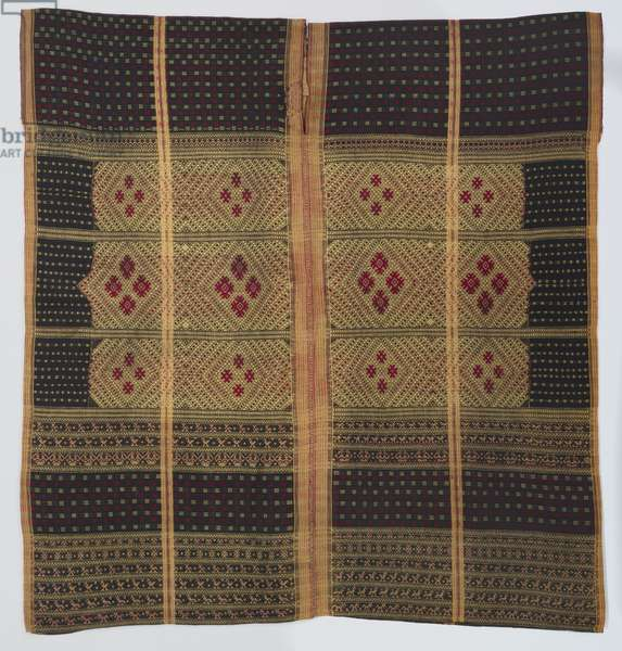 Woman's tunic (phyang), c.1900-1930 (cotton and silk; warp-faced plain weave with warp stripes and supplementary-weft patterning)