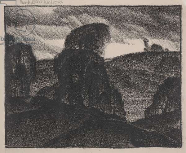 Landscape with Windmill, March 1930 (lithographic crayon)