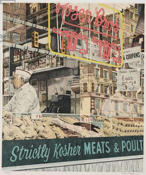 Rosen Bros. Strictly Kosher Meats, 1973 (colour litho)
