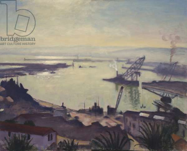 Sun Rising Over the Port of Algiers, 1945 (oil on canvas)