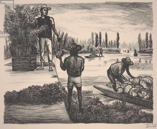 Peasants of Tláhuac, 1946 (litho)