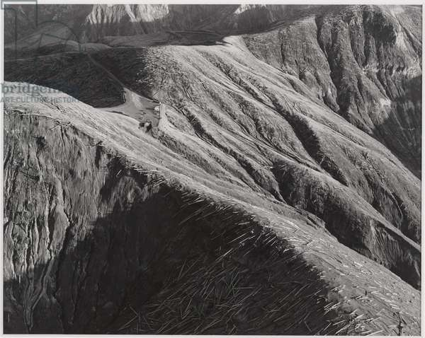 Aerial View: Looking southwest over Windy Ridge and visitors' parking lot 4 1/2 miles NE of Mount St. Helens, Washington, 1983, printed 2008 (gelatin silver print)