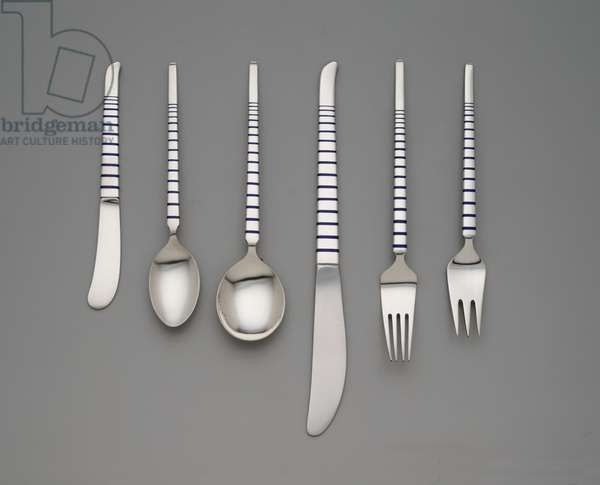 Soup spoon, table fork, salad fork, tablespoon, dinner knife and butter knife, 1955 (silver with champlevé enamel)