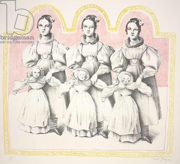 Three Little Girls: Mlle. Benard (after Ingres), 1966 (color litho)
