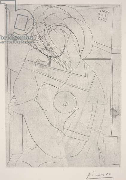 Seated Nude, Her Head Leaning on Her Hand, March 9, 1934 (engraving)