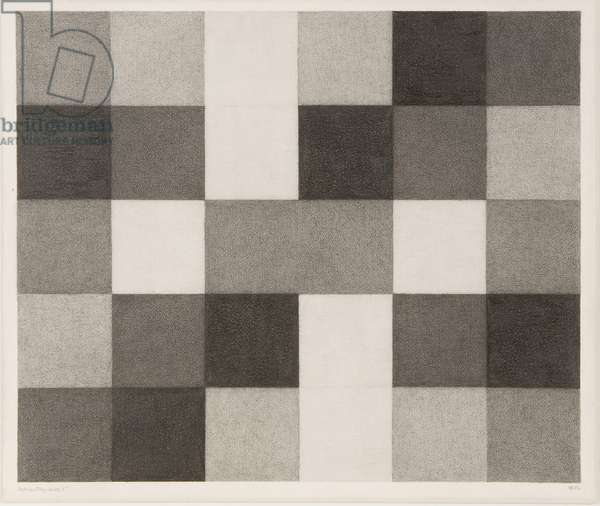 Modular Study - Mirror 5, 1984 (lead pencil on paper laid on card)