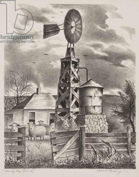 Windy Day, 1940 (litho)
