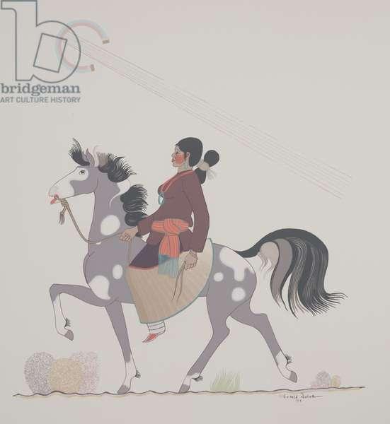 Indian Girl on Horse, 1952 (silkscreen)
