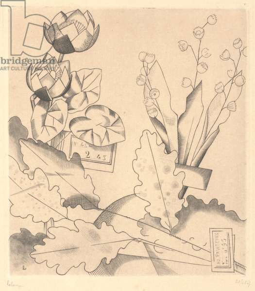Artificial Flowers: Water Lilies and Lily-of-the-Valley, 1924 (engraving)