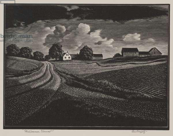 Midsummer Vermont, 1936 (wood engraving)