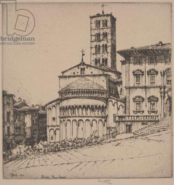 Arezzo, Piazza Vasari, 1924 (etching)