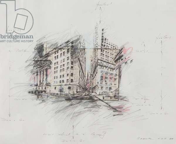Wall Street, 1980 (pencil on paper)