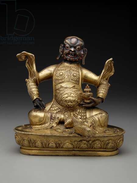 Figure of a deity (lokapala), 17th-18th centuries (gilt bronze)