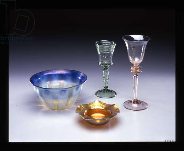 Set of glassware, 1893-1920 (Favrile glass)