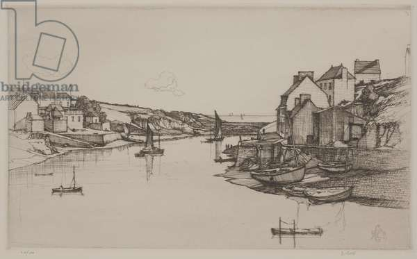 Brittany Fishing Village, 1927 (etching)