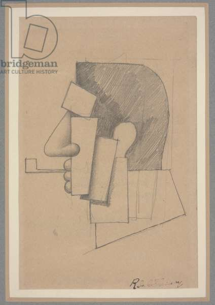 Cubist Head, c.1915-20 (pencil on paper)