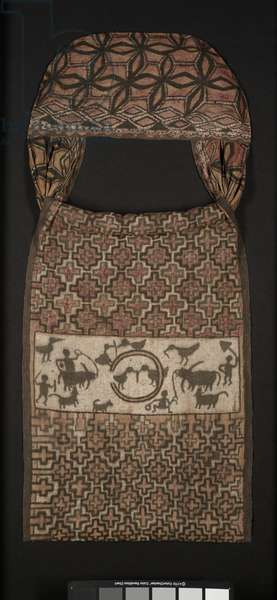 Double tubular sacred textile (mawa'), late 19th–early 20th century (cotton cloth, painted)