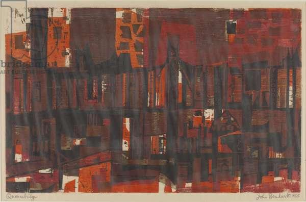 Queensbridge, 1955 (colour woodcut)