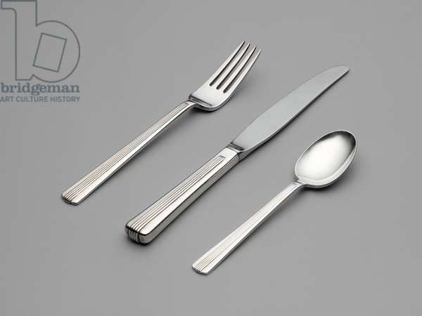 """""""Century"""" knife, fork and spoon (for the New York Central System's 20th-Century Limited train), designed c.1938 (silverplate)"""