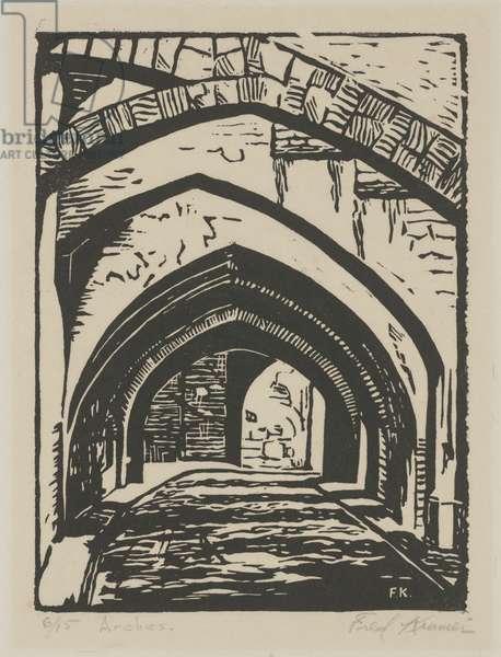 Arches (linoleum cut)