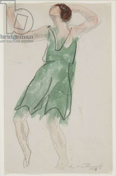 Isadora Duncan Dancing, 1909 (ink & w/c on paper)