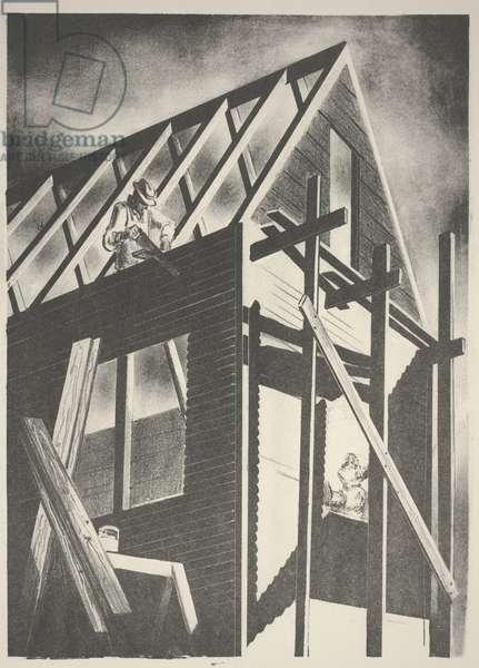 House Under Construction, c.1950 (litho)