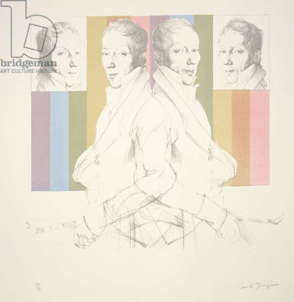 A Gentleman Repeated 2 Plus 2 Times: Portrait Study (after Ingres), 1966 (litho & serigraph)