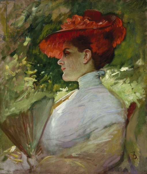 Lady with a Red Hat, or Portrait of Maggie Wilson, c.1904 (oil on canvas)