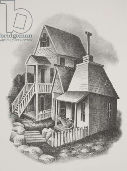 Old Houses, Victor, Colorado (litho)